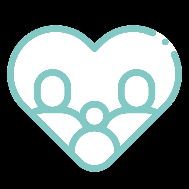 corazón con familia y bebé